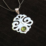 Silver Crest Pendant with Peridot